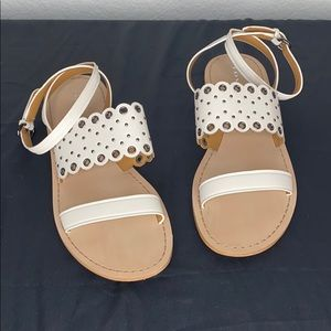Tan White Coach sandals scalloped eyelet accent